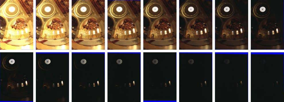 Figure 6: Sixteen photographs of a church taken at 1-stop increments from 30 sec to