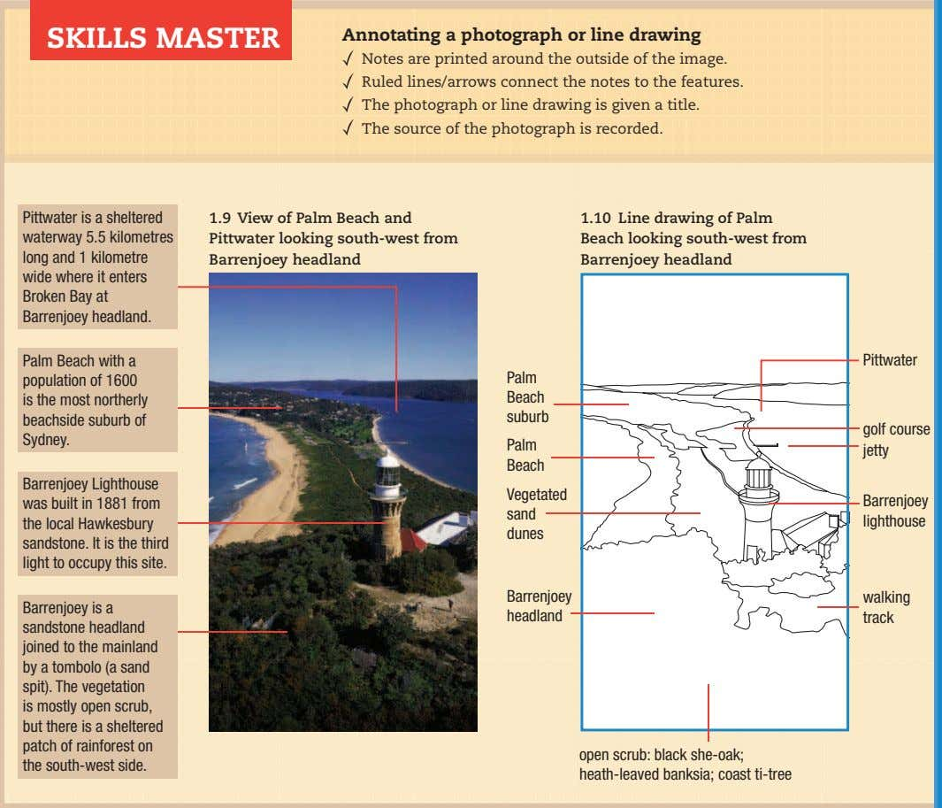 SKILLS MASTER Annotating a photograph or line drawing Notes are printed around the outside of