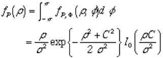 where I 0 ( ) is the modified Bessel function of the first kind and