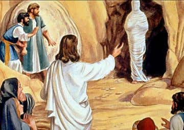 "THEN JESUS SAID TO THEM PLAINLY, ""LAZARUS IS DEAD"". Jesus raises Lazarus from the sleep of"