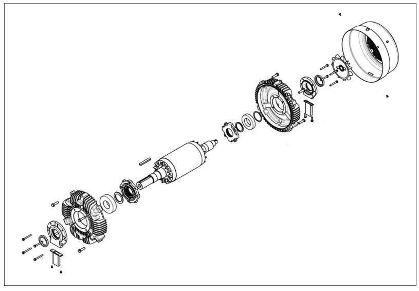sh ields (aluminium or cast iron, according to motor type). Figure 3-17: Rotor assembly (active part,
