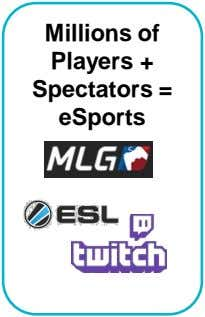 Millions of Players + Spectators = eSports