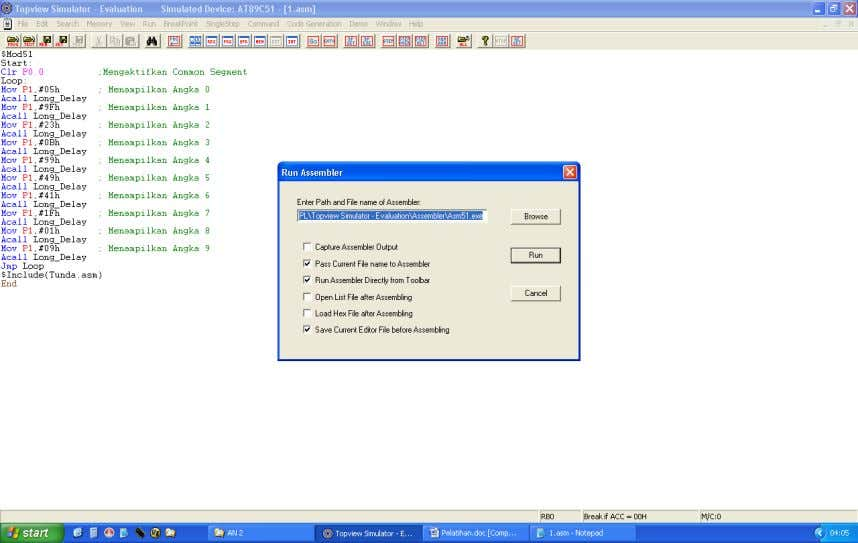 Tampilan program assembler Mengcompile program