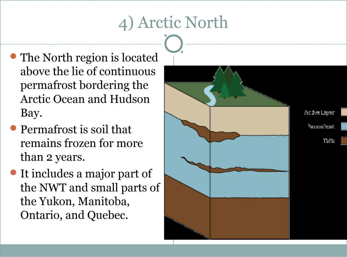 4) Arctic North  The North region is located above the lie of continuous permafrost bordering