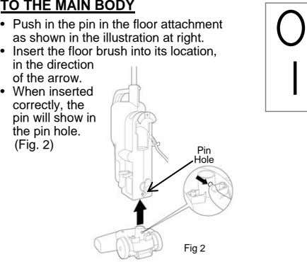 TO THE MAIN BODY • Push in the pin in the floor attachment as shown