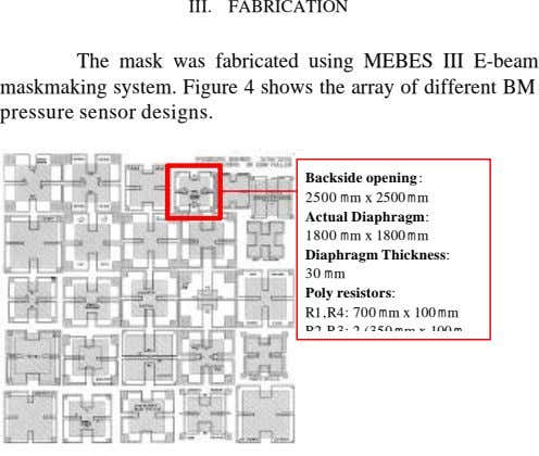 III. FABRICATION The mask was fabricated using MEBES III E-beam maskmaking system. Figure 4 shows the