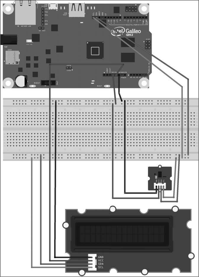 fi le for the sample is iot_ fritzing_chapter_08_01.fzz and the following image is the breadboard view: