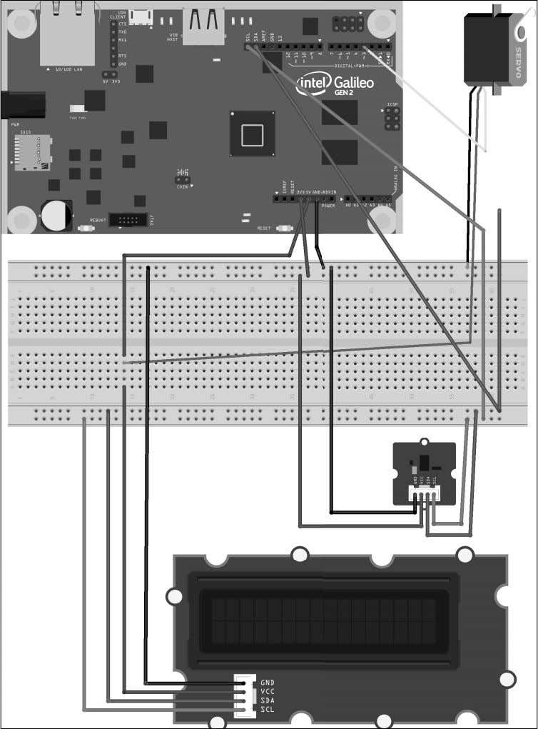 fi le for the sample is iot_fritzing_chapter_08_03.fzz and the following picture is the breadboard view: [