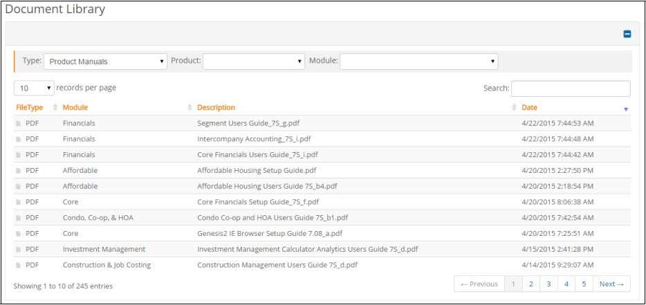 EXAMPLE Selecting Product Manuals from the Type list limits display to the most recently uploaded product