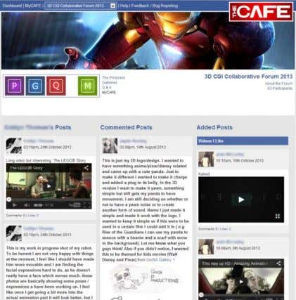 page. Right) a screen capture of a student's myCafe page. The student experience during the two
