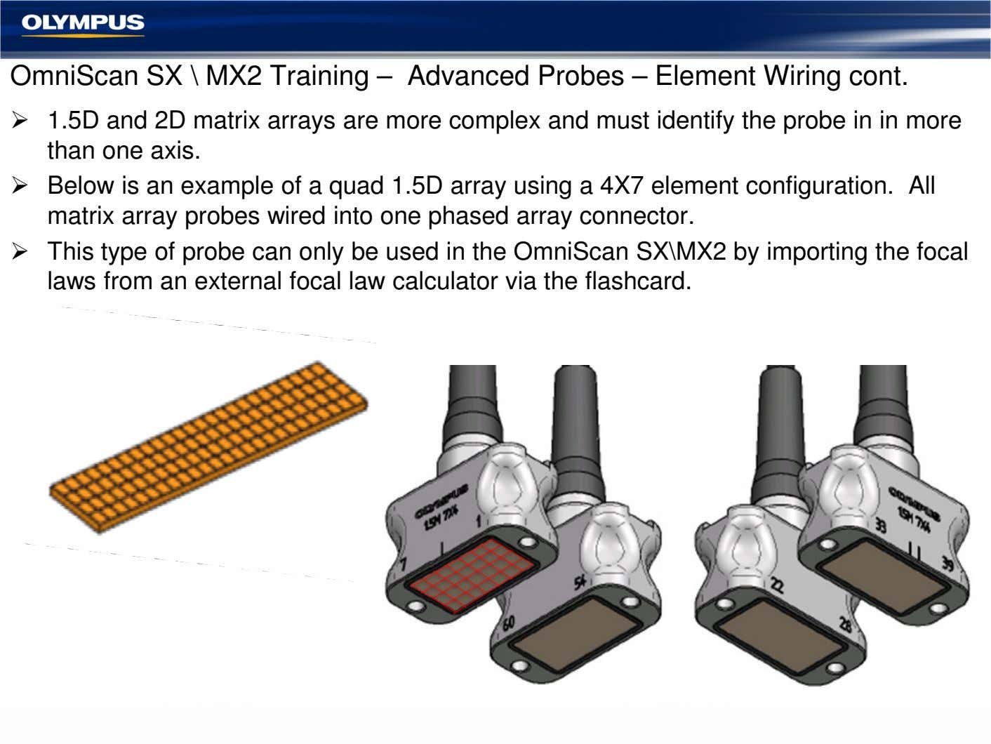 OmniScan SX \ MX2 Training – Advanced Probes – Element Wiring cont. 1.5D and 2D