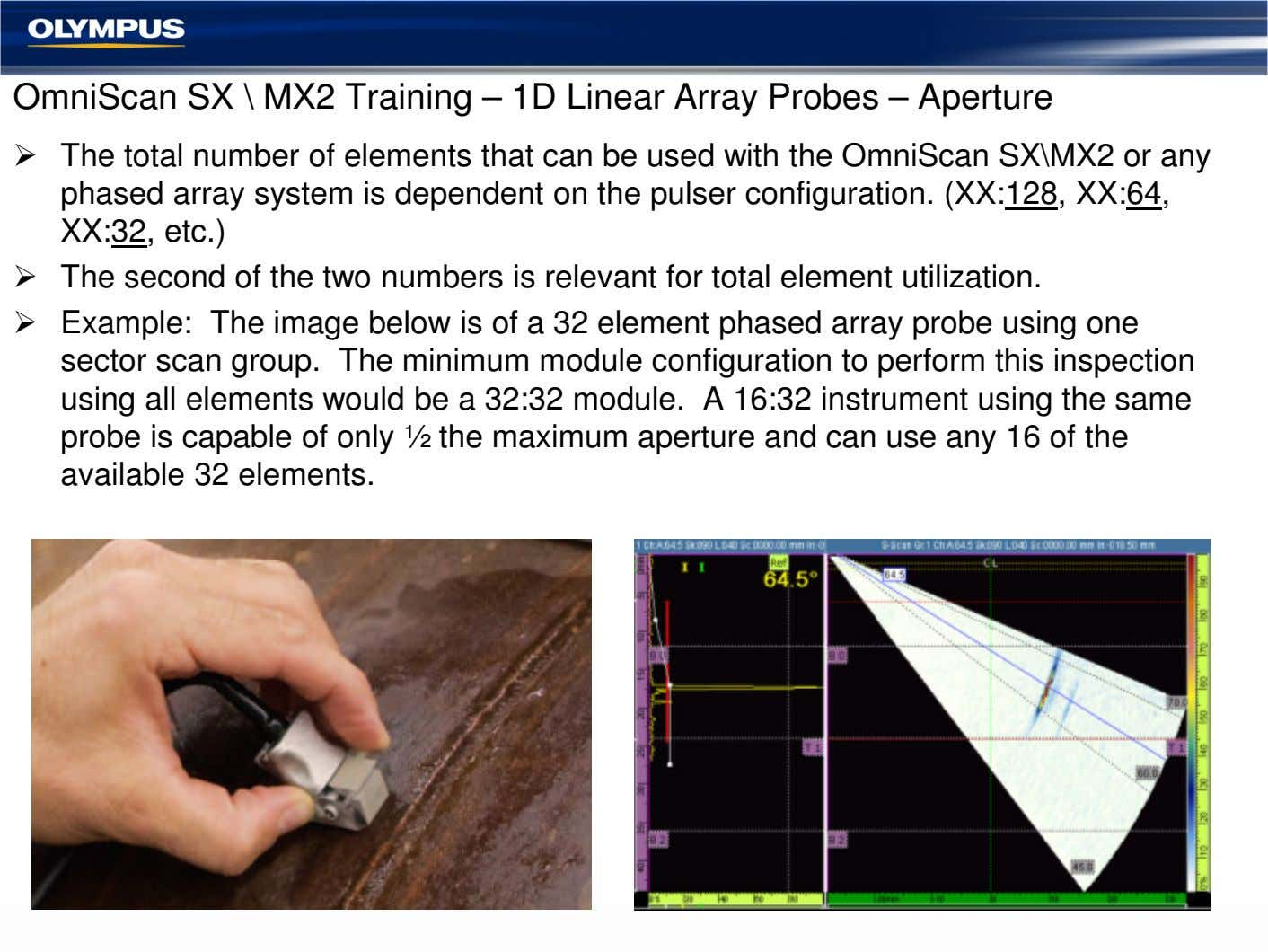 OmniScan SX \ MX2 Training – 1D Linear Array Probes – Aperture The total number