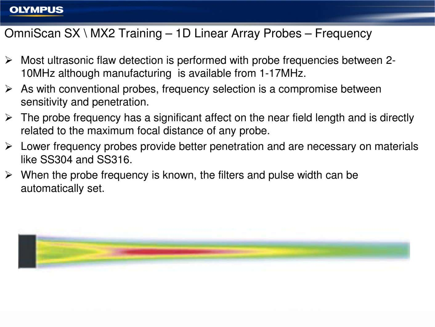 OmniScan SX \ MX2 Training – 1D Linear Array Probes – Frequency Most ultrasonic flaw