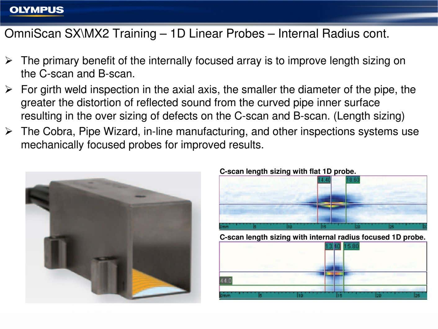 OmniScan SX\MX2 Training – 1D Linear Probes – Internal Radius cont. The primary benefit of