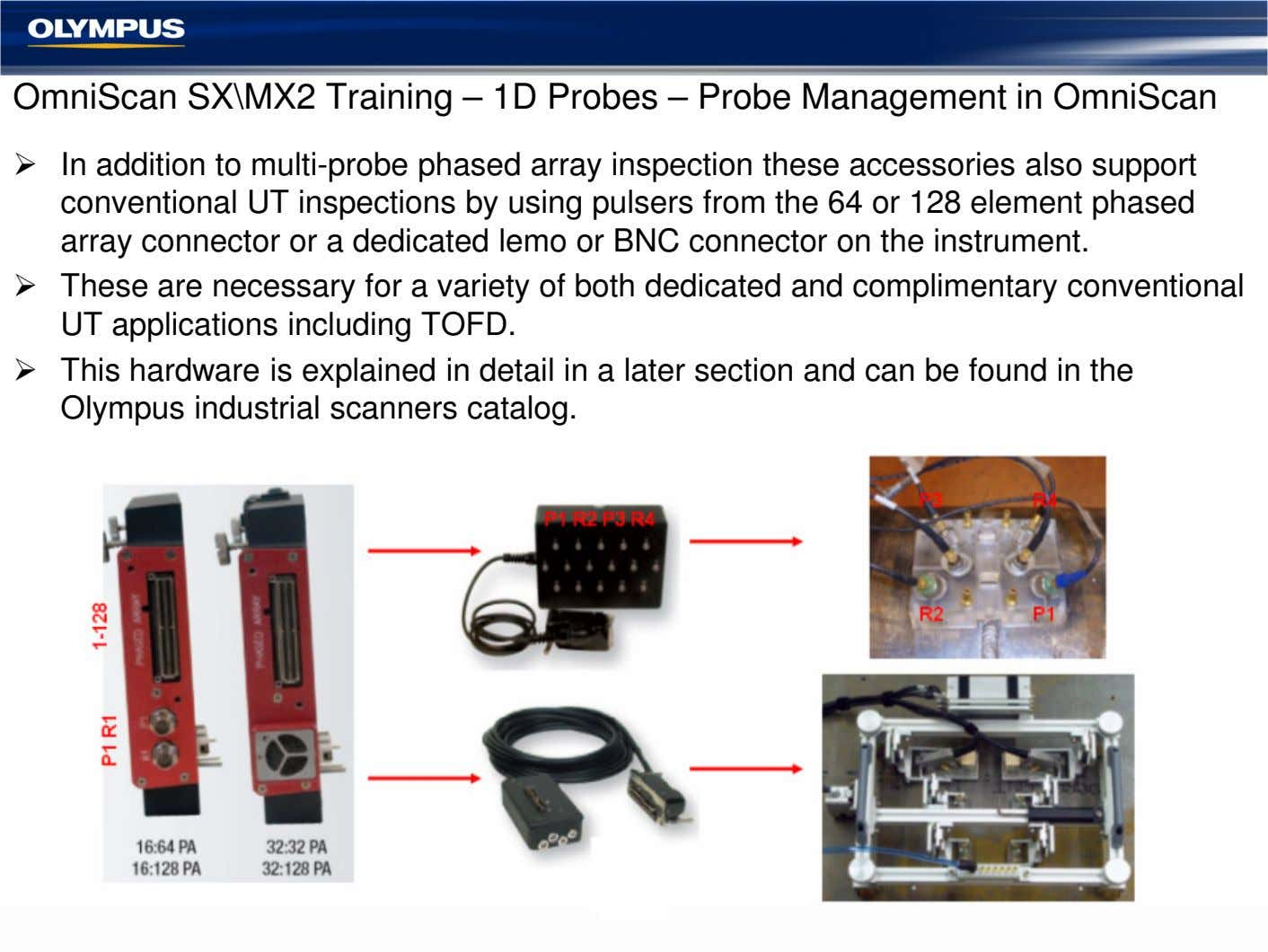OmniScan SX\MX2 Training – 1D Probes – Probe Management in OmniScan In addition to multi-probe