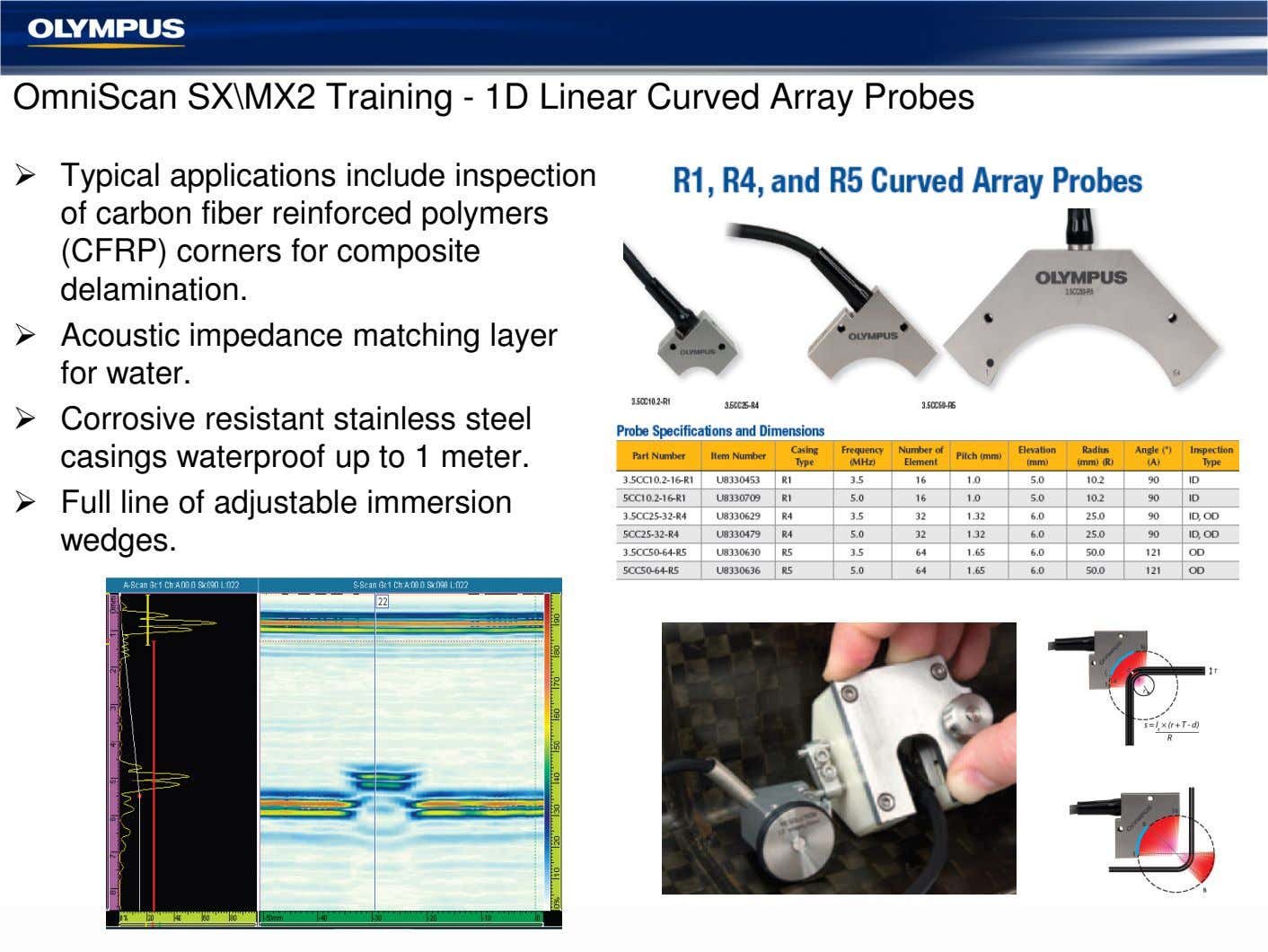 OmniScan SX\MX2 Training - 1D Linear Curved Array Probes Typical applications include inspection of carbon