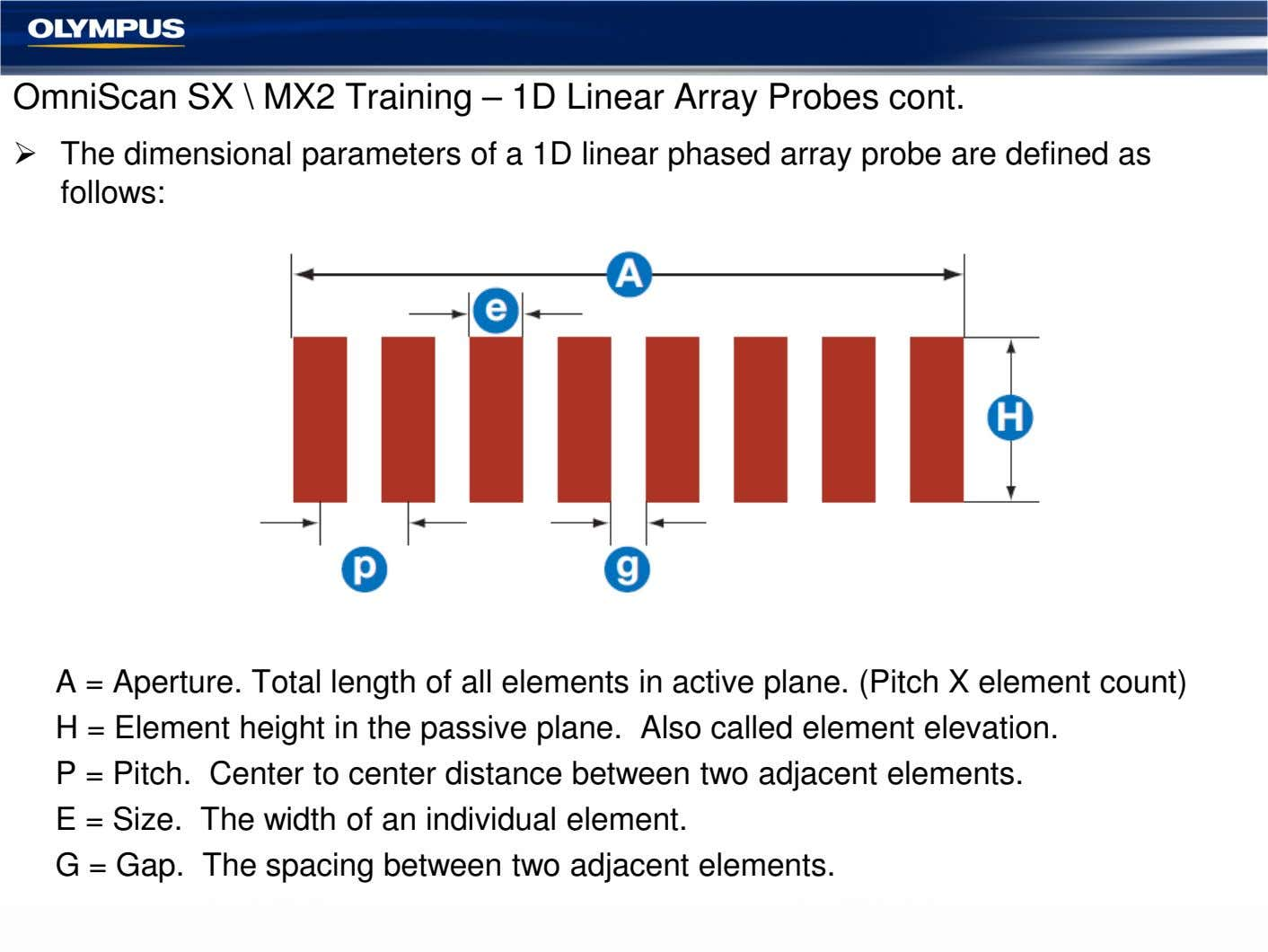 OmniScan SX \ MX2 Training – 1D Linear Array Probes cont. The dimensional parameters of