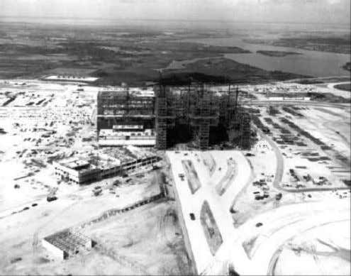 arriving at the job site, erection of the framework began in The VAB rises in steel