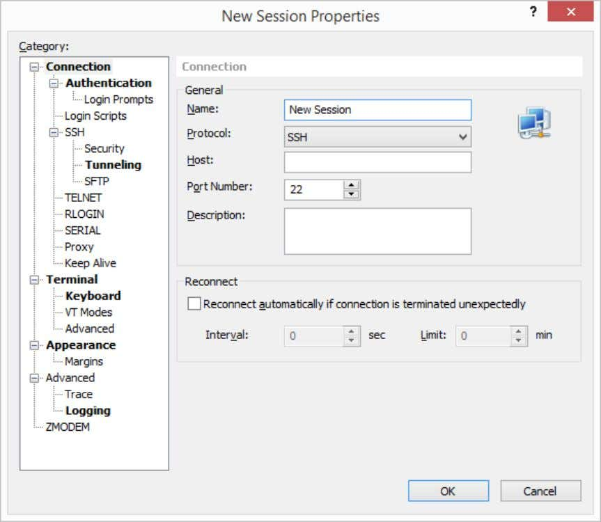 the [File] menu. New Session Properties dialog box is displayed. Fig. 1: New Session Properties dialog