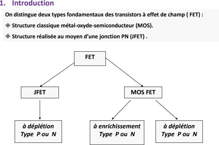 1. Introduction On distingue deux types fondamentaux des transistors à effet de champ ( FET)