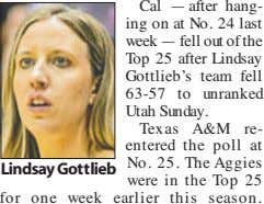 Lindsay Gottlieb Cal — after hang- ing on at No. 24 last week — fell out