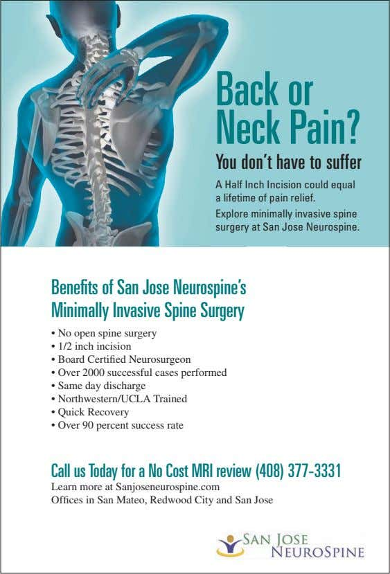 Back or Neck Pain? You don't have to suffer A Half Inch Incision could equal a