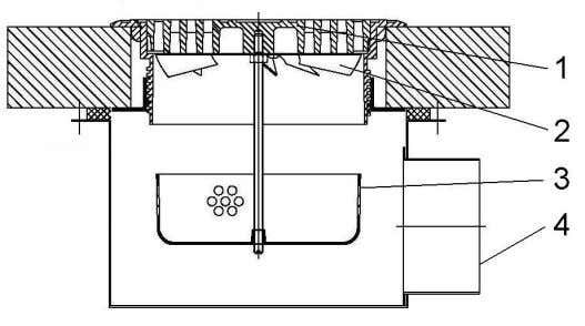 3.6 Swirl diffuser for mixing ventilation. Dimensions in mm. Figure 3.7. Floor diffuser installed in a