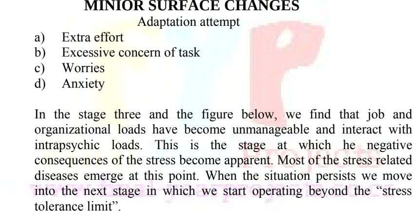 MINIOR SURFACE CHANGES Adaptation attempt a) Extra effort b) Excessive concern of task c) Worries d)