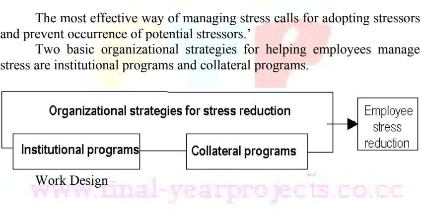 The most effective way of managing stress calls for adopting stressors and prevent occurrence of potential