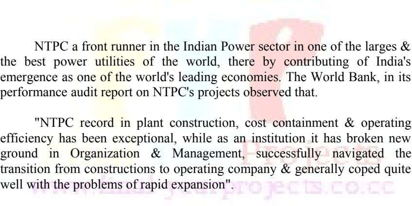NTPC a front runner in the Indian Power sector in one of the larges & the