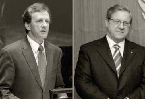 "Iran for its oppressive and inhumane policies."" Allan Rock, left and Lloyd Axworthy. Photo: Bahá'í"