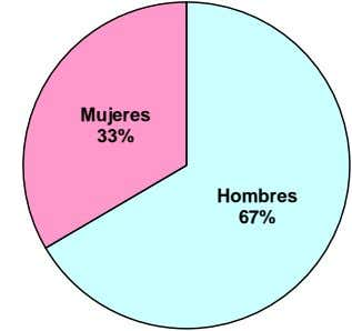 Mujeres 33% Hombres 67%