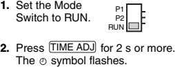 1. Set the Mode Switch to RUN. P1 P2 RUN 2. Press TIME ADJ for