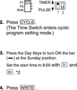P1 TIMER P2 RUN PULSE 2. . (The Time Switch enters cyclic program setting mode.)