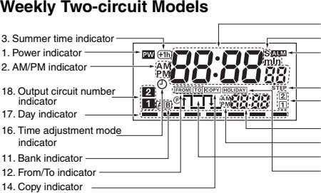 Weekly Two-circuit Models 3. Summer time indicator 1. Power indicator 2. AM/PM indicator 18. Output