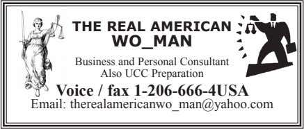 THE REAL AMERICAN WO_MAN Business and Personal Consultant Also UCC Preparation Voice / fax 1-206-666-4USA