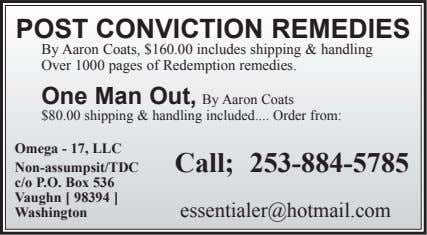 POST CONVICTION REMEDIES By Aaron Coats, $160.00 includes shipping & handling Over 1000 pages of