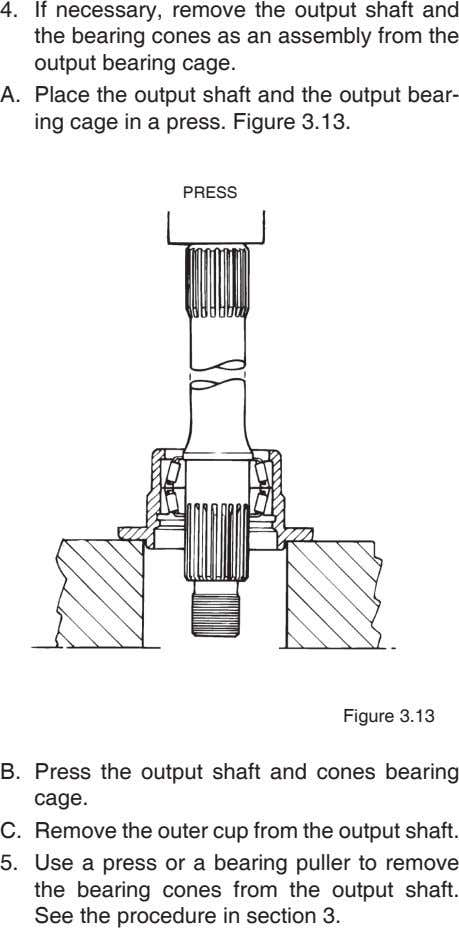 4. If necessary, remove the output shaft and the bearing cones as an assembly from