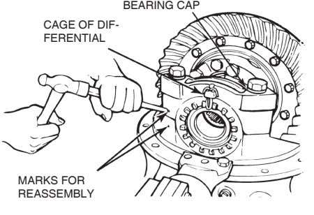 BEARING CAP CAGE OF DIF- FERENTIAL MARKS FOR REASSEMBLY
