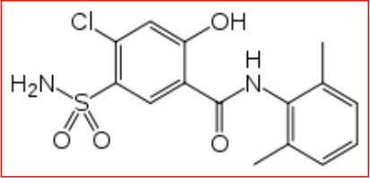 increased secretion of bicarbonate and alkalizes the urin. Fig. 2: chemical structure of Xipamide MATERIALS AND
