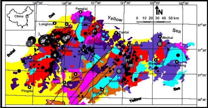 below). Figure 8. Geology of the Jiadong Peninsula. Stratigraphic units Magmatic rocks Faults Gold deposits