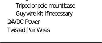 Mounting Hardware Tripod or pole mount base Guy wire kit, if necessary 24VDC Power Twisted Pair
