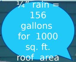 "¼"" rain = 156 gallons for 1000 sq. ft. roof area"