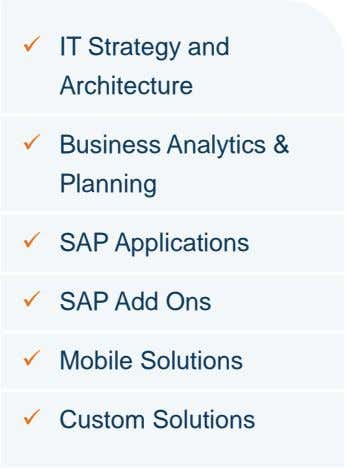  IT Strategy and Architecture  Business Analytics & Planning  SAP Applications  SAP