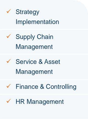  Strategy Implementation  Supply Chain Management  Service & Asset Management  Finance &