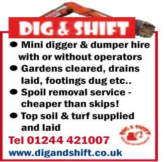 l Mini digger & dumper hire with or without operators l Gardens cleared, drains laid,