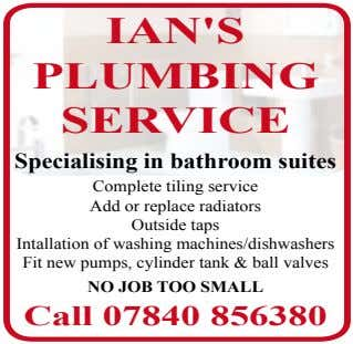 IAN'S PLUMBING SERVICE Specialising in bathroom suites Complete tiling service Add or replace radiators Outside