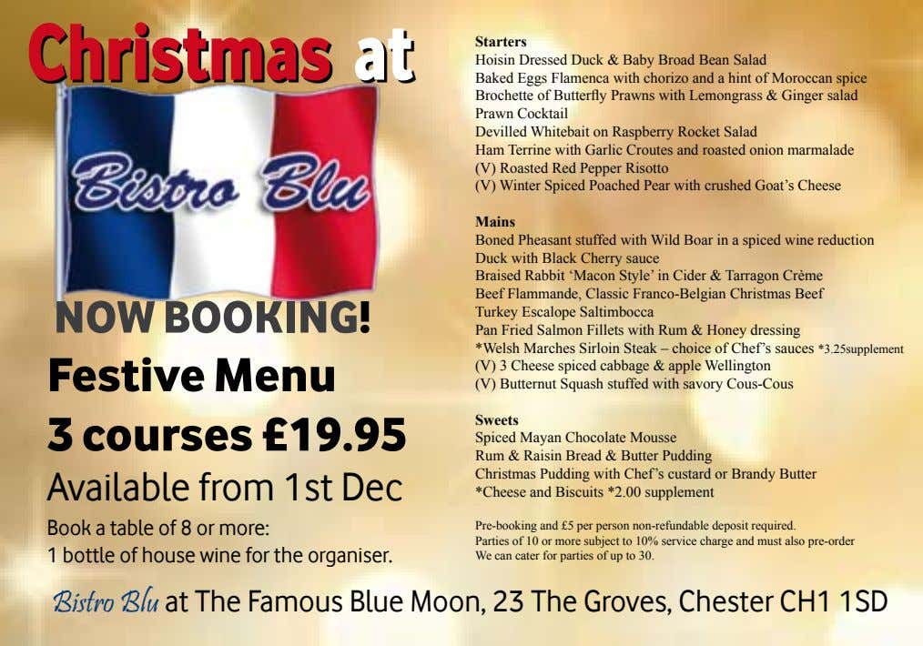Christmas at starters Hoisin Dressed Duck & Baby Broad Bean Salad Baked Eggs Flamenca with