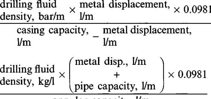 drilling , fluid ^ metal displacement, v n nQQ1 , x ^ x 0.098I u