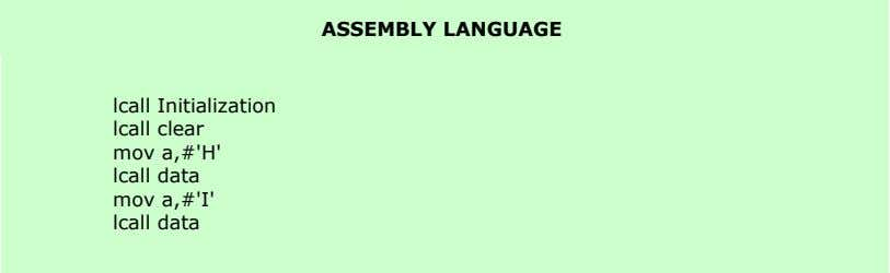 ASSEMBLY LANGUAGE lcall Initialization lcall clear mov a,#'H' lcall data mov a,#'I' lcall data